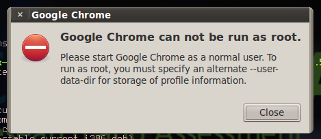 google chrome cannot be run as root