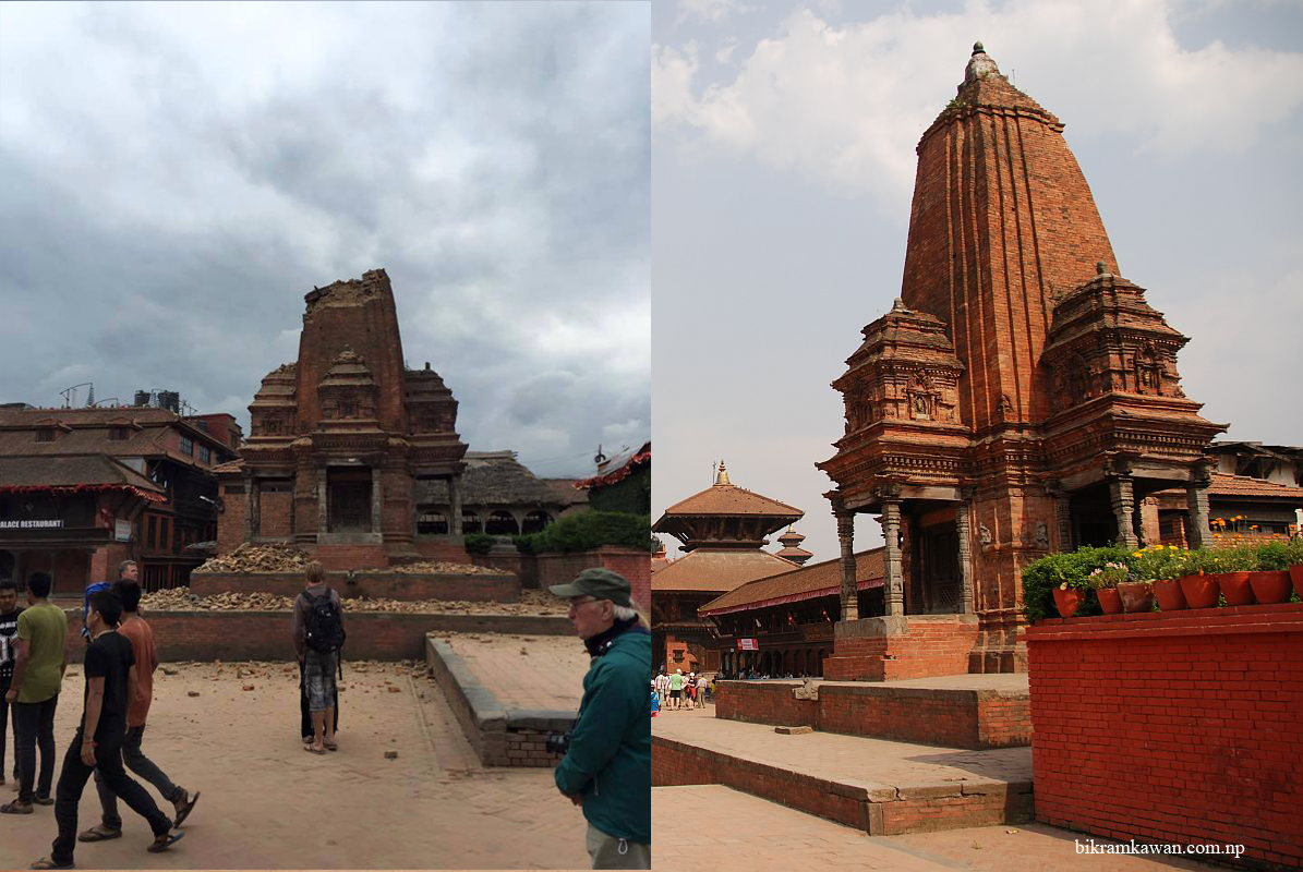 Bhaktapur durbar square before and after earthquake 2015