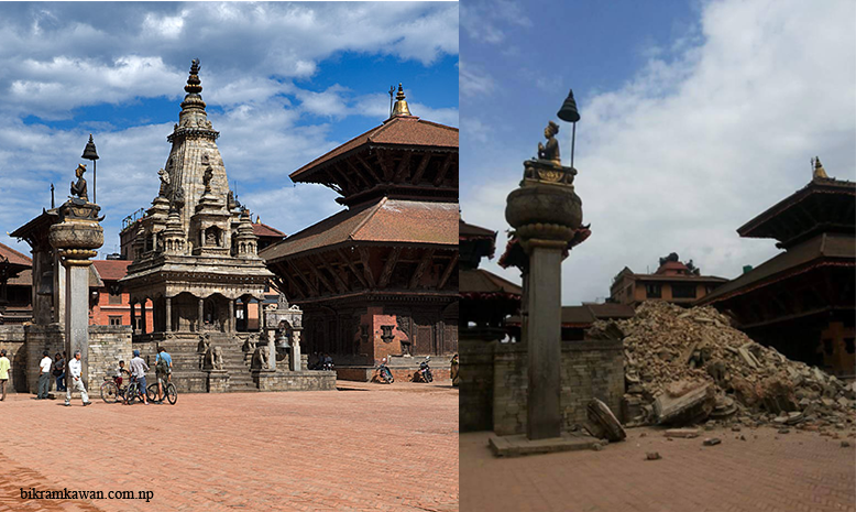 Bhaktapur durbar square krishna mandir before and after earthquake